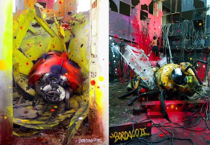 В руках Bordalo II громоздкие груды мусора превращаются в гигантских зверей и насекомых.