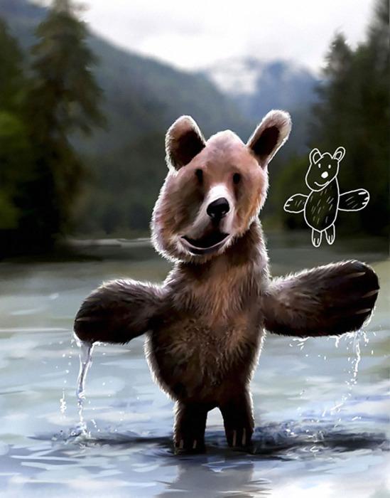 Смешной медведь, нарисованный Тельмо Пипером (Telmo Pieper) в возрасте 4-х лет и воссозданный им же 20 лет спустя.
