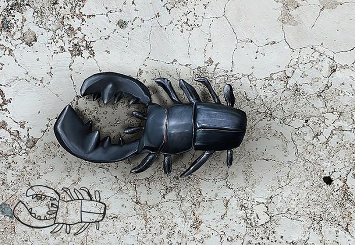 Иллюстрация с изображением забавного жук, нарисованного художником из Голландии 20 лет назад.