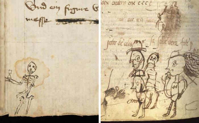 Бессвязные рисунки, обнаруженные на страницах древнейших рукописей.