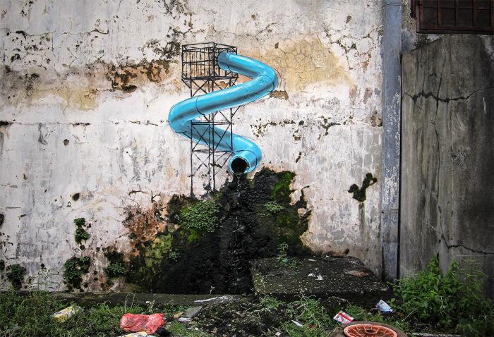 Граффити от польского художника на улицах Малайзии.