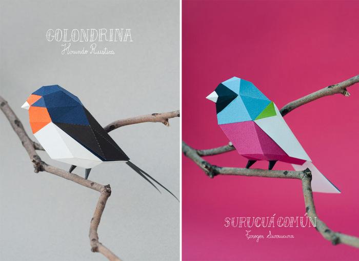 Бумажные птички от Estudio Guardabosques.
