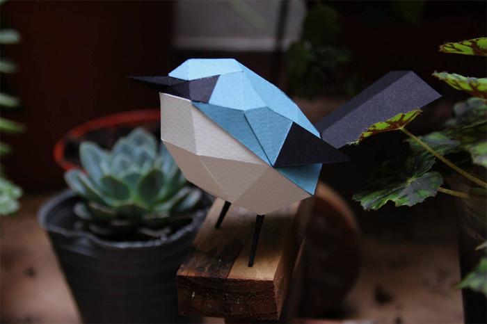 Бумажная птичка от Estudio Guardabosques.
