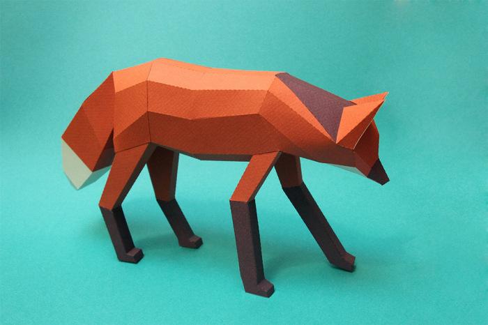 Фигурка лисицы из бумаги.