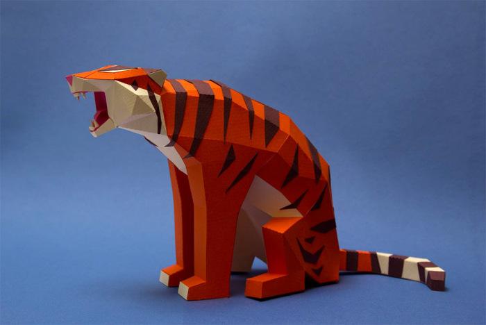 Бумажные тигр от Caro Silvero и Juan Elizalde.