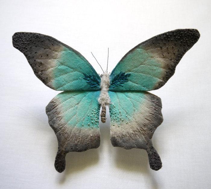 Прекрасные бабочки из текстильных материалов от Yumi Okita.