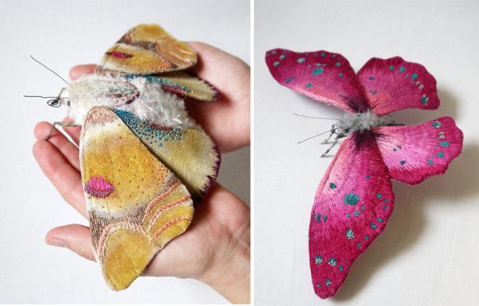Декоративные скульптуры из ткани в виде красочных бабочек и мотыльков.