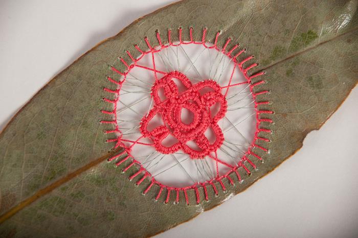 Необычные листья, сшитые нитками, от Хилари Фэйл (Hillary Fayle).