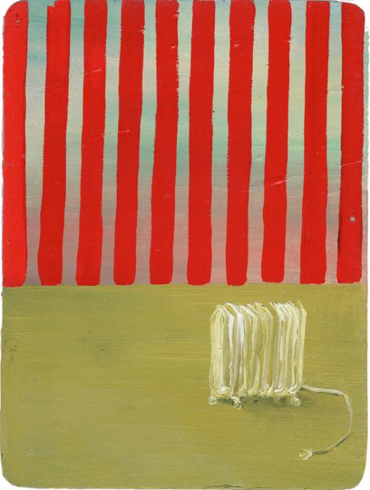 Абсурдная композиция с батареей на фоне полосатых обоев от Мари Роузен (Marie Rosen).