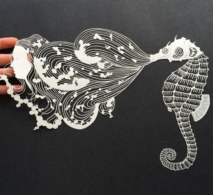 Изящные композиции, вырезанные из обыкновенной бумаги, от Мод Уайт (Maude White).