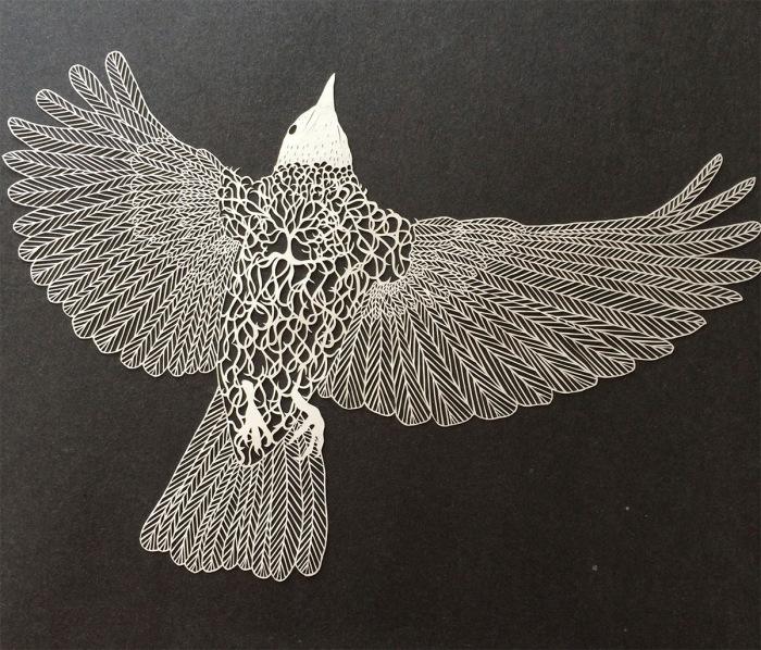 Бумажная птица от художницы Мод Уайт (Maude White).
