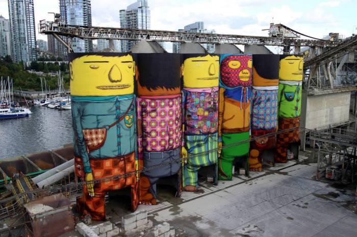 Шесть огромных бункеров, разрисованных Os Gemeos.