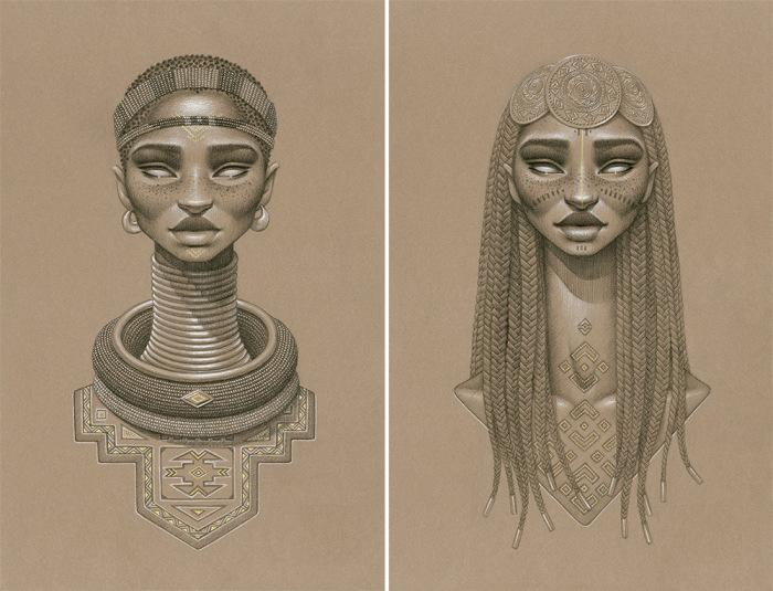 Вымышленные африканские богини солнца и плодородия от Сары Голиш (Sara Golish).