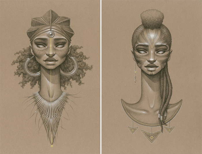 Серия портретов африканских женщин, выполненная в уникальном авторском стиле.