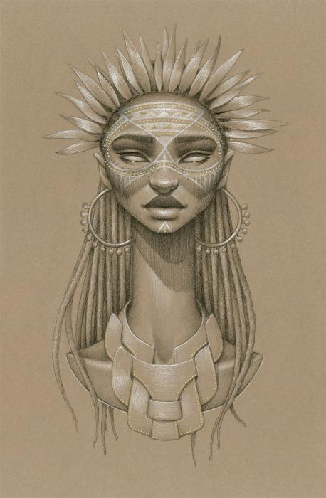 Женский портрет богини солнца и плодородия от Сары Голиш (Sara Golish).