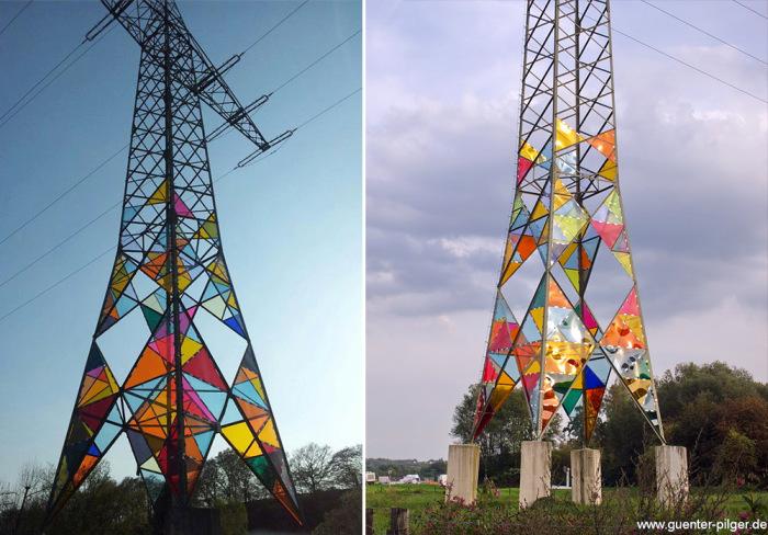 Оригинальное преображение серой электрической башни в Германии.