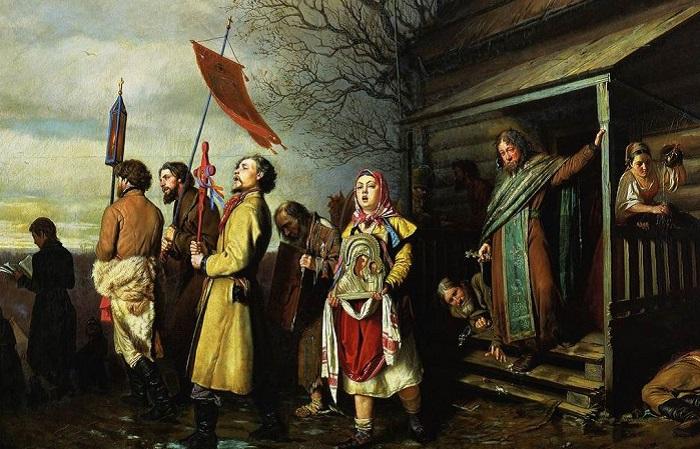 Сельский крестный ход на Пасхе. В.Г. Перов, 1861 год. | Фото: 900igr.net.