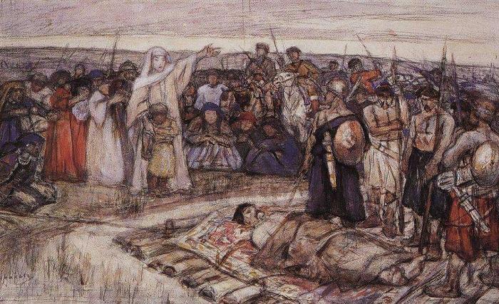 В.И. Суриков. Княгиня Ольга встречает тело князя Игоря.
