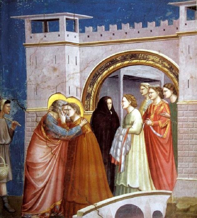 Встреча у Золотых ворот. 1303-1305 гг. Фреска в Капелле Скровеньи. Джотто. | Фото: 5arts.info.
