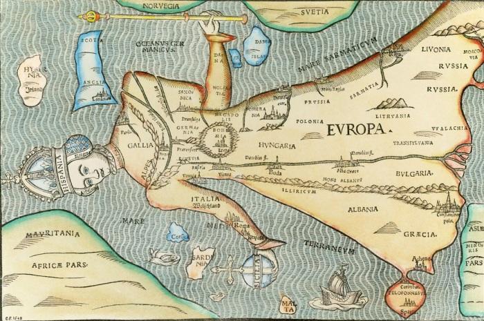 Карта Европы 1548 года, выполненная в Ганновере (Германия). | Фото: humus.dreamwidth.org.