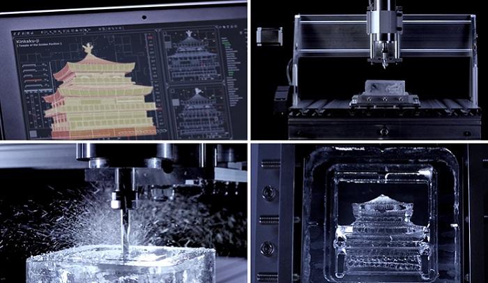 Процесс создания ледяной 3D-скульптуры.