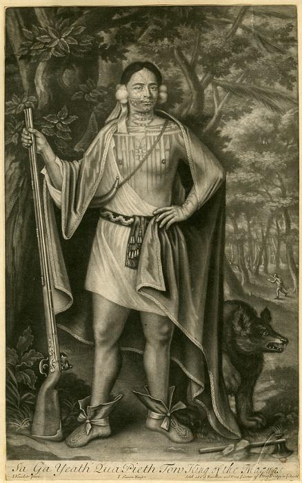 Sa Ga Yeath Qua Pieth Tow - вождь племени могавков. Гравюра, 1710 г.