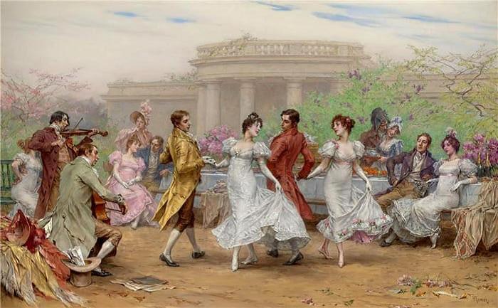 Танцы при дворе.