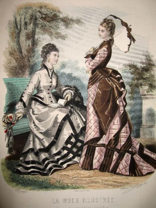 Турнюры были популярными в 1880-х.