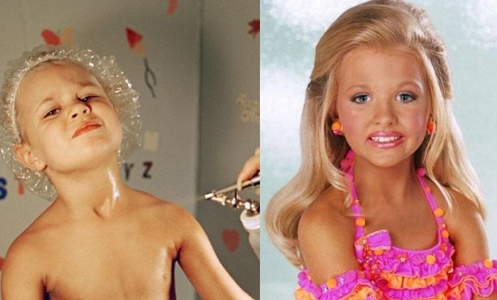 Чтобы блистать на сцене, малышки выдерживают многочасовою процедуру нанесения макияжа.