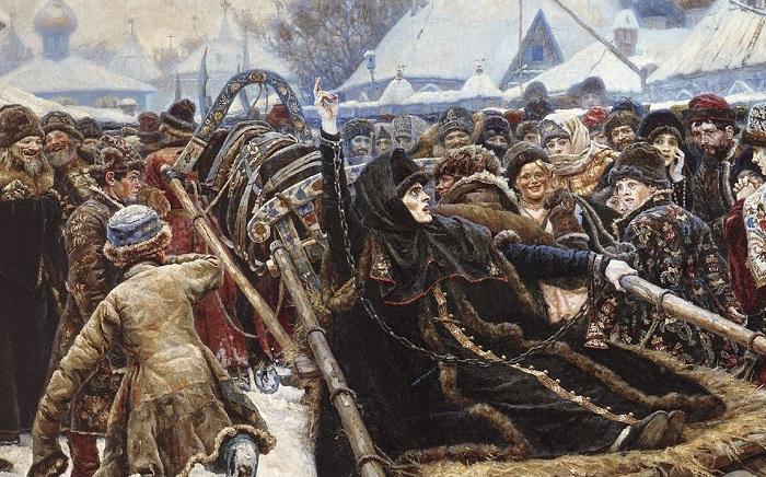 Фрагмент картины «Боярыня Морозова» В.И. Сурикова, 1887 год.