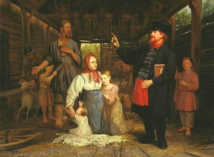 Сбор недоимок. А. А. Красносельский, 1869 год. | Фото: img0.liveinternet.ru.