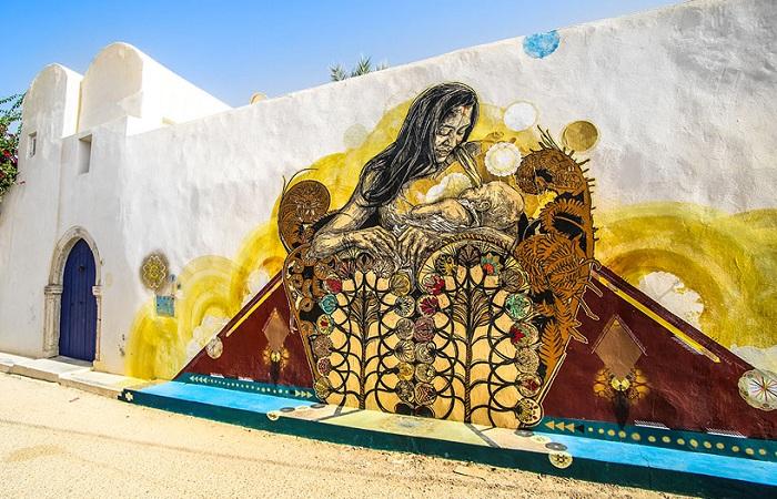 Проект «Djerbahood» - роспись стен в тунисской деревне.