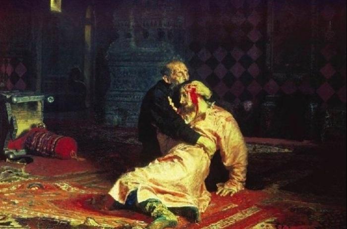 Иван Грозный и сын его Иван 16 ноября 1581 года» И. Е. Репин. 1883-1885 гг. | Фото: cs540104.vk.me.
