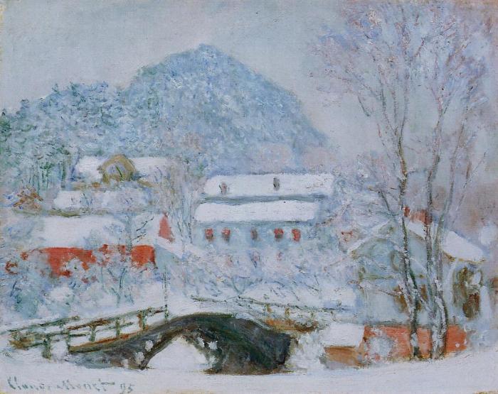 Деревня Сандвикен в снегу.  Клод Моне, 1895 г.   Фото: fiveminutehistory.com.