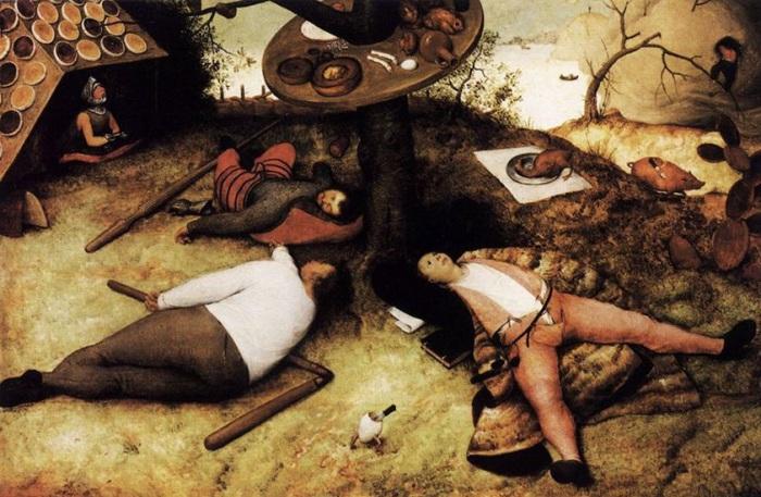 Страна лентяев. Питер Брейгель Старший, 1567 год. | Фото: oboi-ok.ru.