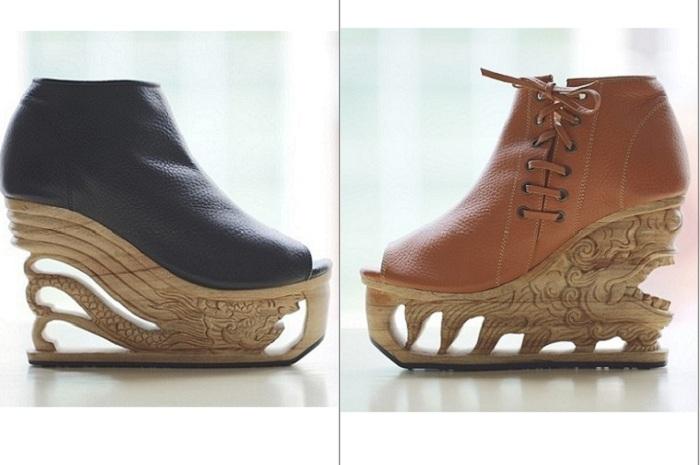 Дизайнер LanVy Nguyen создает оригинальную обувь на платформе.