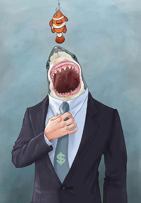 Акулы бизнеса съедают более мелких рыбешек.