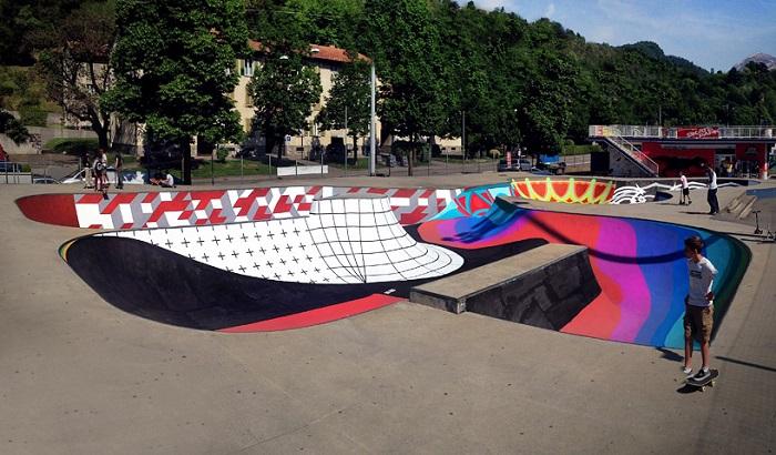 Арт-объект на территории скейт парка.