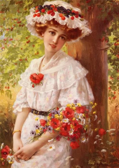 Под вишневым деревом. Э. Вернон, 1899 год. | Фото: fiveminutehistory.com.