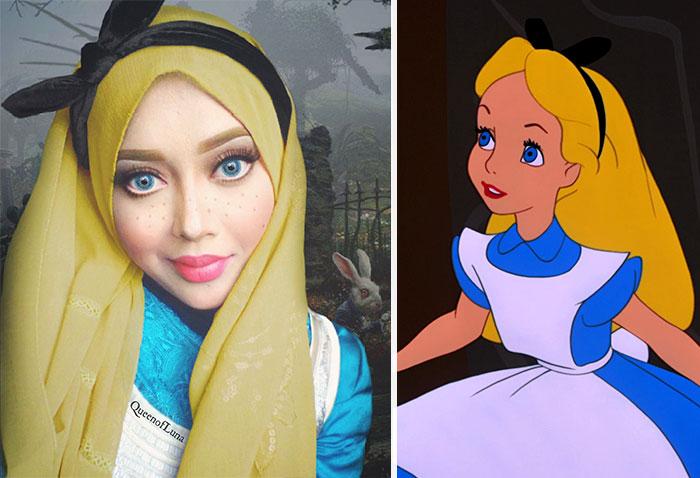 Девушка перевоплотилась в мультяшную Алису.