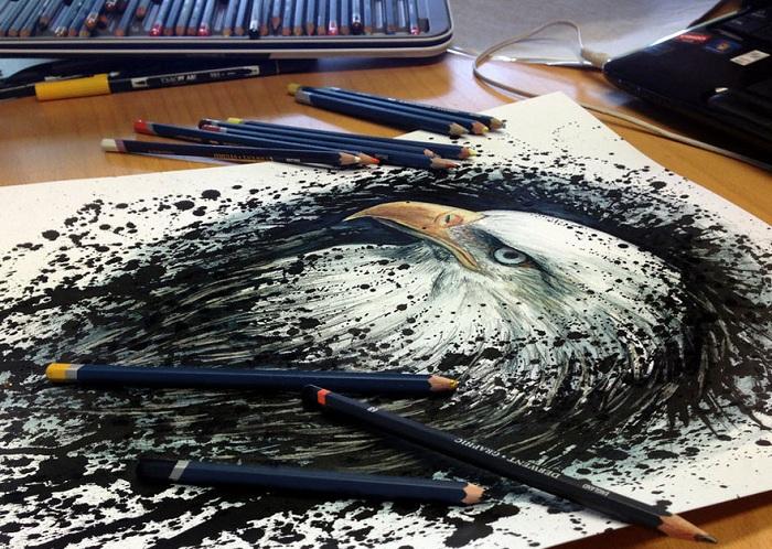 Рисунок, нарисованный цветными карандашами.