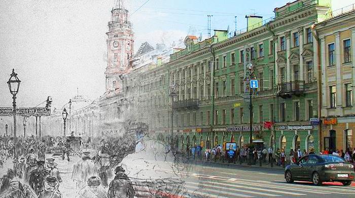 Невский проспект в 19 веке и сегодня.