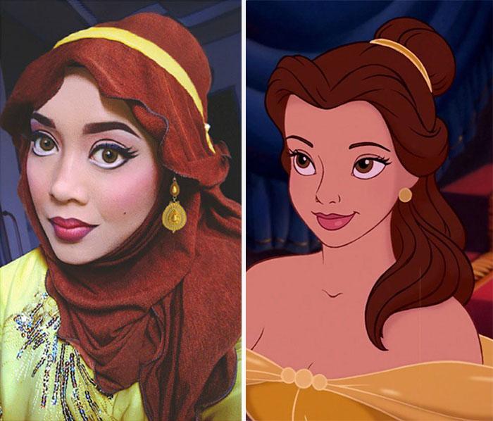 Девушка делает диснеевские прически из хиджабов.