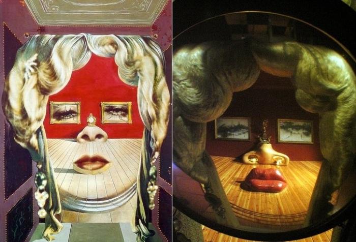 Картина «Лицо Мэй Уэст, использованное в качестве сюрреалистической комнаты» и комната-иллюзия.