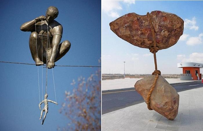 Скульптуры, нарушающие закон силы тяжести.