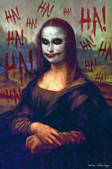 Поп-арт. Мона Лиза с лицом Джокера.