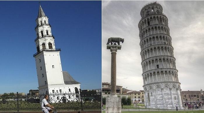 Пизанская башня и ее русский аналог - башня в Невьянске.