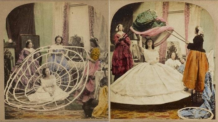 Кринолин, популярный в середине 19 века.