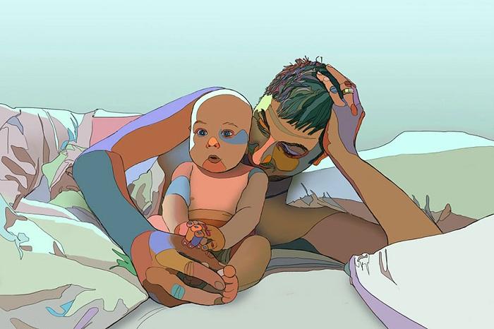 Веселый рисунок отца и сына.