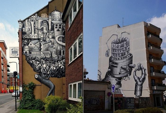 Уличное творчество художника Phlegm.